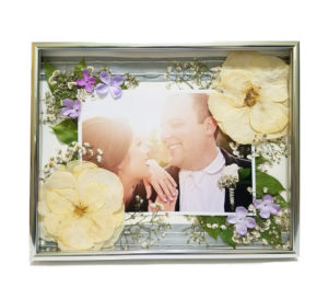 Silver Frame with Ribbons and Photo Wedding Flower Preservation